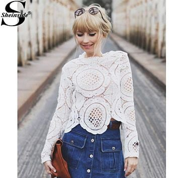 Sheinside White Long Sleeve Round Neck Hollow Out Bohemian Style Women Fashion Clothes Spring 2016 Brand New Lace Blouse