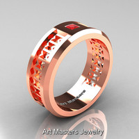 Art Masters Mens Modern 10K Rose Gold Princess Ruby Wedding Band R384BM-10KRGR