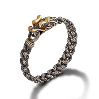 John Hardy naga collection dragon head bracelet on small braided chain with oxidation