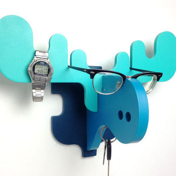 MOOSE Wall Hanger Turquoise / Wall Hook / Glasses, watches, jewelry holder / Deer antlers / Moose antlers / Elk antlers / by PopDekor