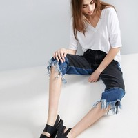 ASOS Contrast Laid On Straight Leg Jeans with Raw Hem at asos.com