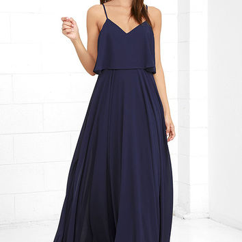 Love Runs High Navy Blue Maxi Dress