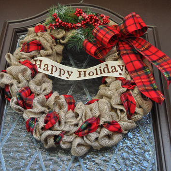 Christmas Wreath- Burlap Wreath, Holiday Wreath, Plaid Wreath, Happy Holidays