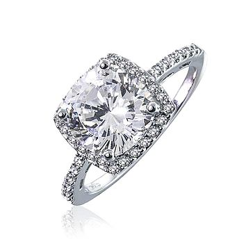 3CT Square Cushion Cut AAA CZ Halo Engagement Ring 925 Sterling Silver