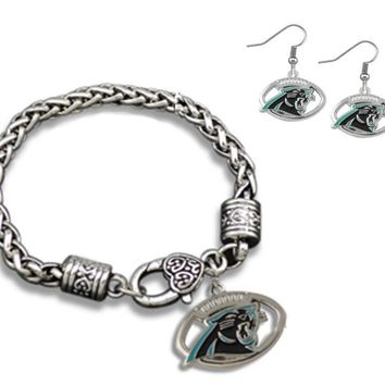 Carolina Panthers Charm Bracelet & Fashion Earrings , Perfect Jewelry Gift
