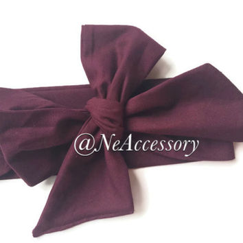 Maroon Wrap, Baby headwrap, Fabric Wrap, Maroon Hair Bow, Baby Headband,  Baby Headband, Toddler Headband, Baby Headwrap, Infant-Adult
