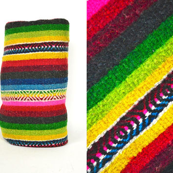 "hand woven RAINBOW striped saltillo SOUTHWESTERN mexican BLANKET rug, 91"" x 51"""