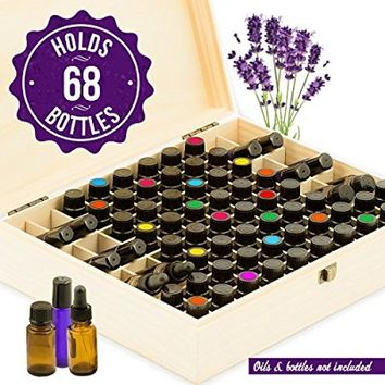Essential Oil Box Wooden Organizer - Large Wood Storage Case Holds 68 Oils. Protects 15ml Drams & 10ml Roller Bottles - Best for Travel and Presentations. Display doTERRA, Young Living, Plant Therapy