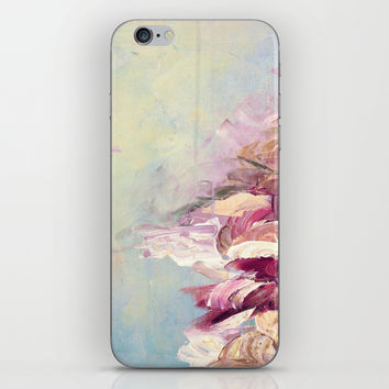WINTER DREAMLAND 1 Colorful Pastel Aqua Marsala Burgundy Cream Nature Sea Abstract Acrylic Painting  iPhone & iPod Skin by EbiEmporium