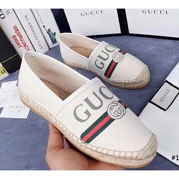 GUCCI tide brand female models wild one pedal casual shoes canvas shoes fisherman shoes #1