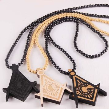 Wooden Masonic Pendant Necklace [Multiple Colors]