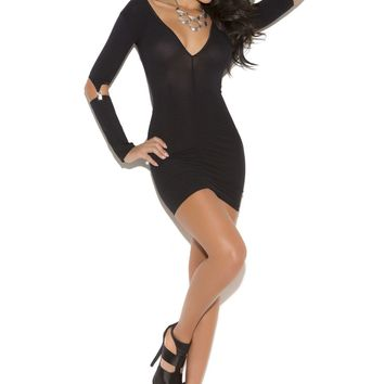 Opaque Mini Dress With Gartered Long Sleeves (One Size,Black)