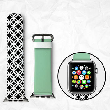 Handmade Apple Watch Strap 38/42mm - Green Black-and-White remix (BBSW034)