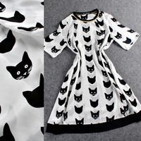 Gold Trimmed Neck Cat Face Print Loose Shift Dress