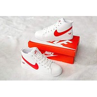 Hot Sale NIKE BLAZER Popular Men Casual High Top Sport Shoes Sneakers White(Red Hook)