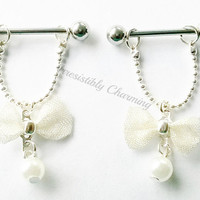 Nipple or cartilage barbell piercings mesh bow and pearl 14 gauge stainless steel.......light weight