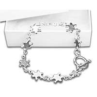 Autism Awareness Silver Linked Puzzle Bracelet in a Gift Box