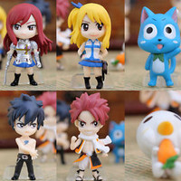 6pcs Fairy Tail Natsu / Gray / Lucy / Erza PVC Figures doll toy Anime