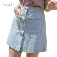New 2017 Women Summer Denim Skirts Fashion High Waist Blue Bodycon Skirts Plus Size Mini Jeans Skirt High Quality Jeans Skirt