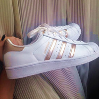 """Adidas"" Fashion Shell-toe Flats Sneakers Sport Shoes White rose golden line"
