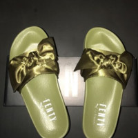 PUMA fenty rihanna silk slides sneakers spring  (10-color) Bow Slide Sandals Shoes Green
