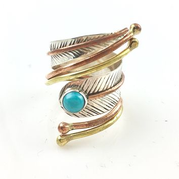 Blue Turquoise Three Tone Sterling Silver Adjustable Wrap Ring