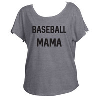 Baseball Mama Mom Drapey Shirt Tri-Blend Dolman Women's Yoga Workout Shirt Fashion Trendy Off Shoulder