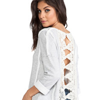 Free People Victorian Lace Pullover in Grey Heather