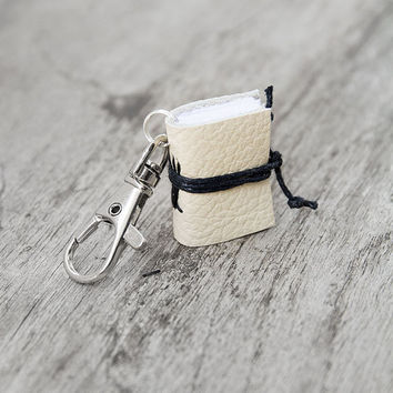 Mini book keychain, leather keychain, book charm, key fob book keychain, teacher librarian book lover, miniature leather journal - cream
