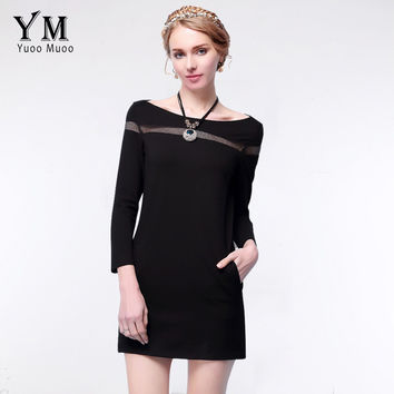 YuooMuoo 2016 New S-5XL Plus Size Women Black Dress High Quality Casual Spring Dress Sexy Hollow Out Party Dress Women Clothing