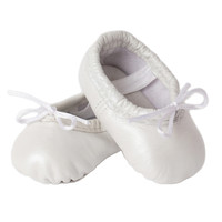 Newborn Baby Ballet Slippers - Shimmering Pearl White leather shoes
