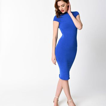 Unique Vintage 1960s Royal Blue Stretch Knit Cap Sleeve Holly Wiggle Dress