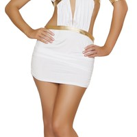 Sexy Women's Three Piece White and Gold Greek Princess Halloween Costume