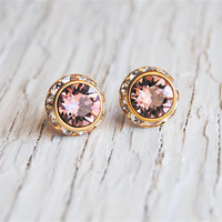 French Rose Pink Stud Earrings - Sugar Sparklers Small - Swarovski Crystal Pink Diamond Rhinestone Stud Earrings