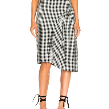 Tibi Boatneck Midi Skirt in Black Multi | FWRD