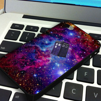 Galaxy Nebula Tardis Box iPhone 5 iPhone 4 / 4S Plastic Hard Case Soft Rubber Case