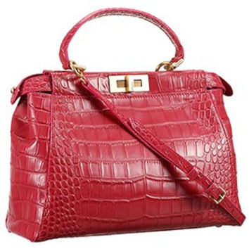Fendi Small Peekaboo Fuchsia Leather Bag 608300