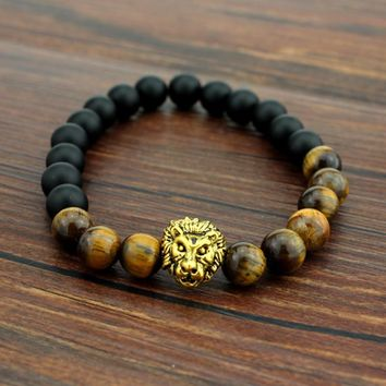 Tiger Eye Lion Head Bracelet
