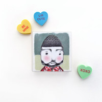 Lumberjack with Red Plaid Shirt Magnet - Lumberjack Valentine Dude Gift Item - Valentine Gift for Him - Rugged Man Illustration Magnet