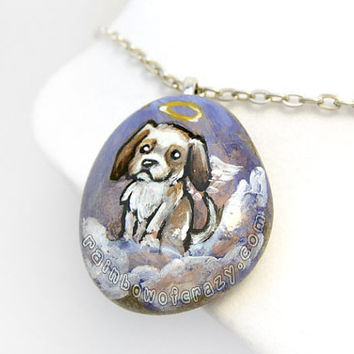 Shih Tzu Pendant, Angel Dog Necklace, Shitzu Painting, Pet Memorial Jewelry, Natural Beach Stone, Pet Loss Accessory, Brown and White Dog