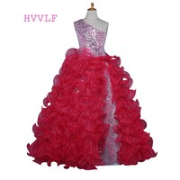 Red 2018 Girls Pageant Dresses Ball Gown One-shoulder Organza Sequins Sparkle Flower Girl Dresses First Communion Dresses