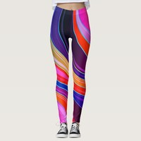 Multicolored Vintage Retro Abstract Leggings