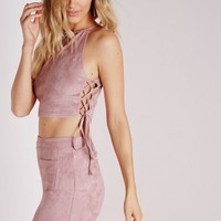 Missguided - Suede Lace Up Crop Top Mauve