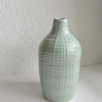 Aqua Green Turquoise Vase Sake Bottle Jug Textured Asian Bamboo Thatch Woven