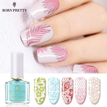 BORN PRETTY Macaron Series Nail Stamping Polish 6ml Blue Red Pink Image Printing Varnish Summer Color Manicure Art Stamp Lacquer