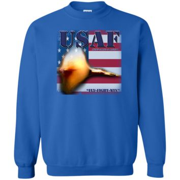 UNITED STATES AIR FORCE : FLY FIGHT WIN : G180 Gildan Crewneck Pullover Sweatshirt  8 oz.