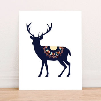 Deer Tribal Digital Art Print Instant Download, Motivational Art Print, Nursery Art Print, Nursery Wall Art, Tribal Art, Mountain Decor