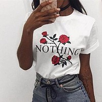 """Summer Hot Sale Women Casual Rose """"Nothing"""" Letter Print Short Sleeve T-Shirt Top"""