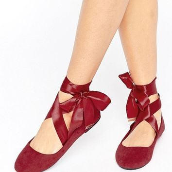RAID Tie Up Burgundy Ballet Flats at asos.com
