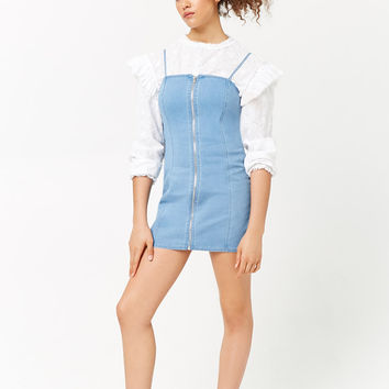 Zip-Front Mini Denim Dress
